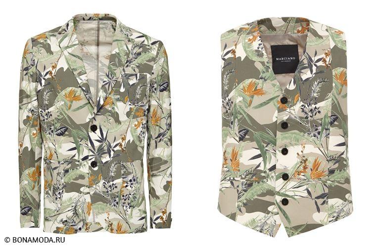 Мужская коллекция Marciano Los Angeles весна-лето 2018 - пиджак и жилет с тропическим принтом оттенка хаки