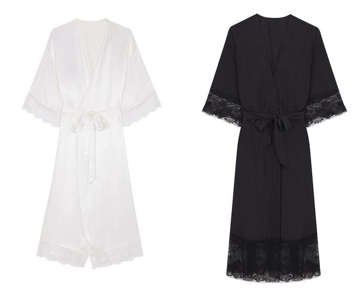 Свадебная коллекция нижнего белья Women'secret 2018 - шёлковые халаты пеньюары белого и чёрного цвета
