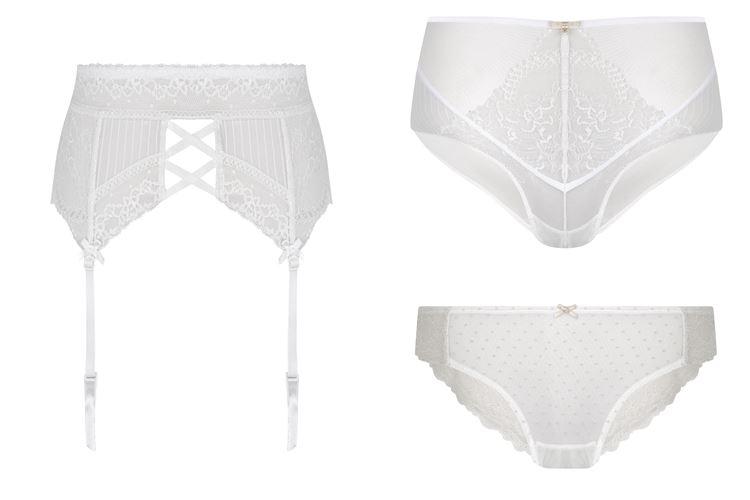Свадебная коллекция нижнего белья Women'secret 2018 - закрытые белые трусики и пояс с подвязками