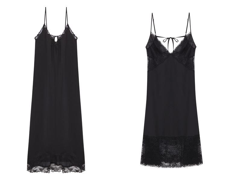 Свадебная коллекция нижнего белья Women'secret 2018 - Чёрные шёлковые сорочки на тонких бретелях