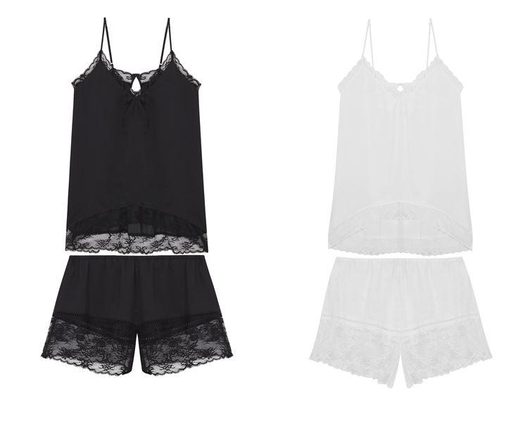 Свадебная коллекция нижнего белья Women'secret 2018 - Чёрная и белая шёлковая пижама с шортами и топом