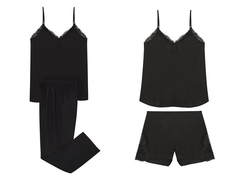 Свадебная коллекция нижнего белья Women'secret 2018 - Чёрные шёлковые пижамы с топами на тонких бретелях