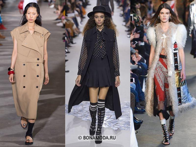 Женская верхняя одежда весна-лето 2018 - длинные пальто без рукавов