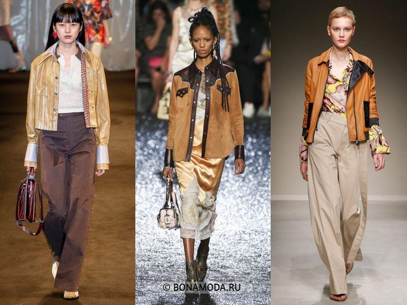 Женская верхняя одежда весна-лето 2018 - Короткие бежевые куртки из кожи и замши