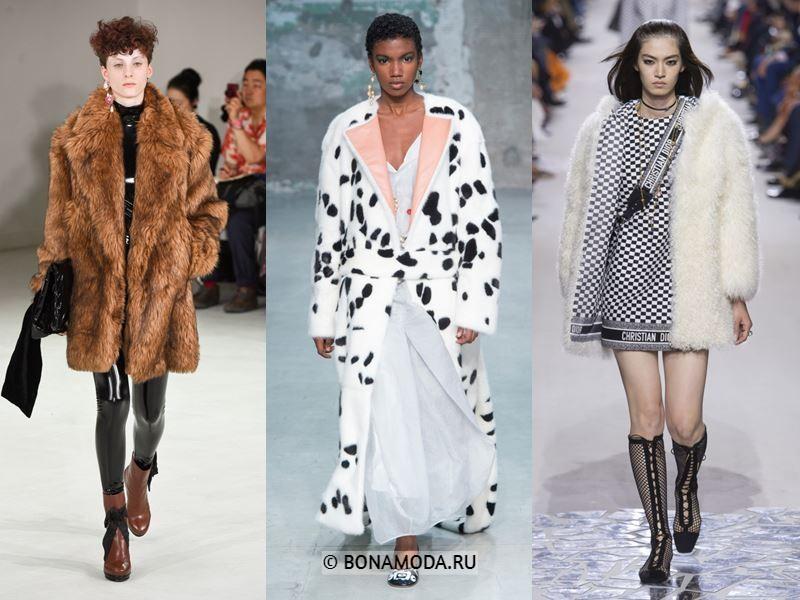 Женская верхняя одежда весна-лето 2018 - Пальто из искусственного меха