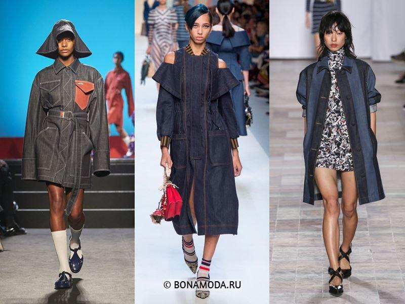 Женская верхняя одежда весна-лето 2018 - Тёмные джинсовые пальто