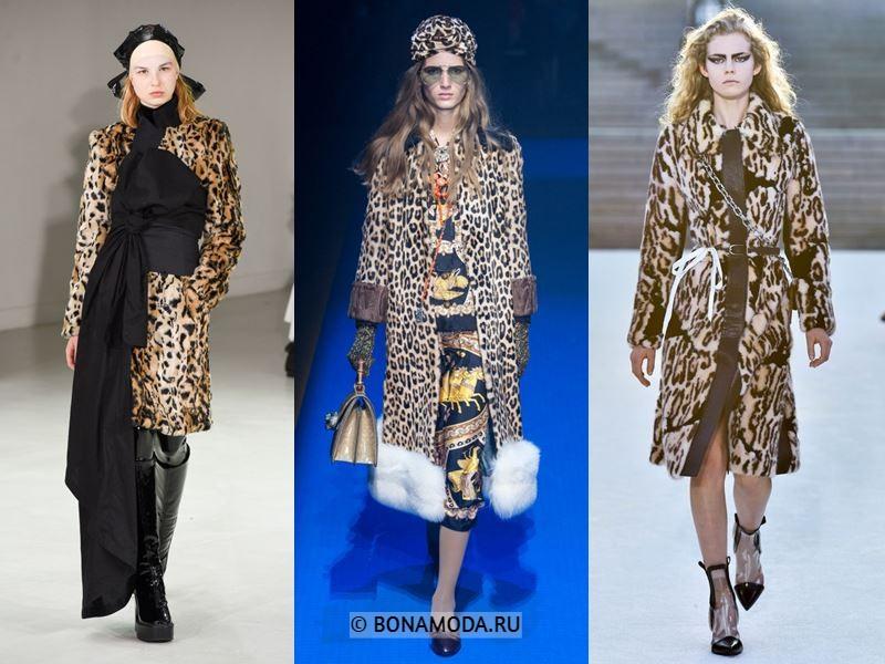 Женская верхняя одежда весна-лето 2018 - Пальто из искусственного меха с леопардовым принтом