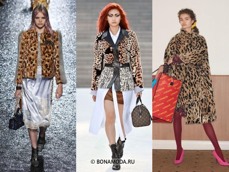 Женская верхняя одежда весна-лето 2018 - Леопардовые меховые пальто и куртки