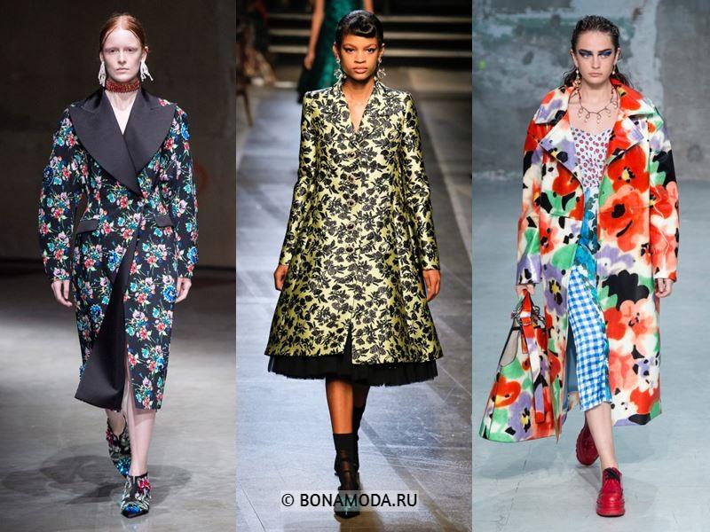 Женская верхняя одежда весна-лето 2018 - Пальто с цветочным принтом