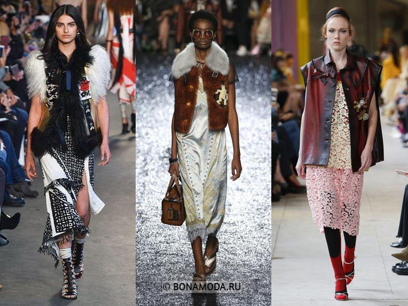 Женская верхняя одежда весна-лето 2018 - куртки из кожи и меха без рукавов