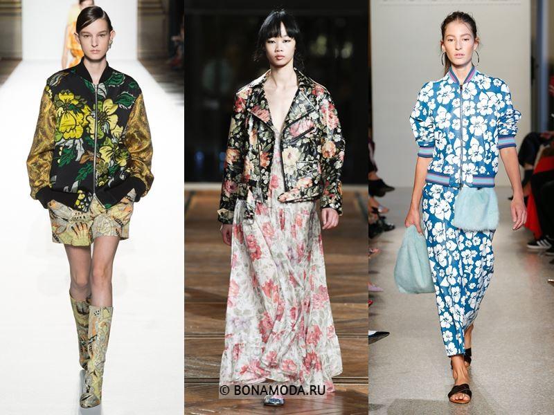 Женская верхняя одежда весна-лето 2018 - Куртки с цветочным принтом