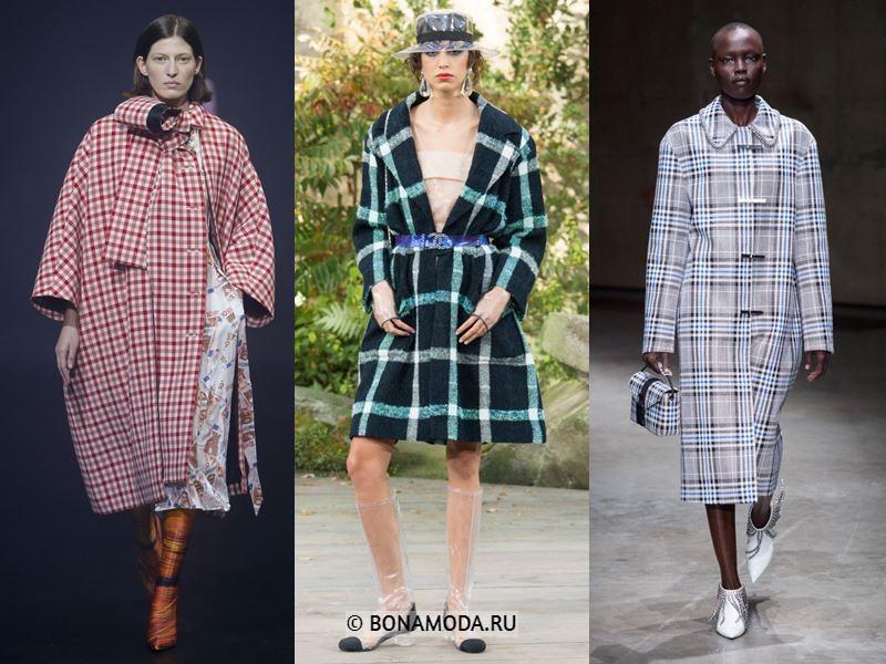 Женская верхняя одежда весна-лето 2018 - Модные клетчатые пальто