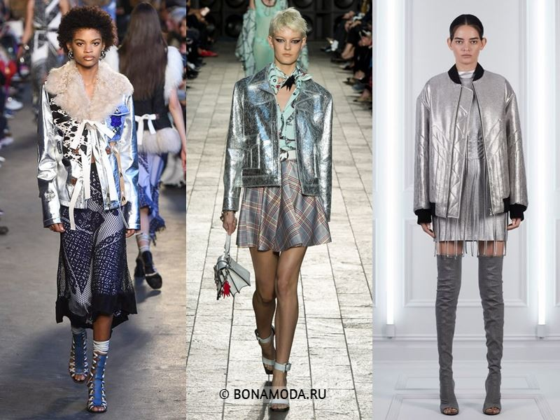 Женская верхняя одежда весна-лето 2018 - Блестящие серебряные куртки