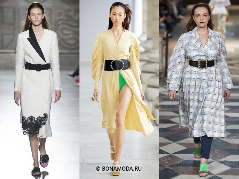 Женская верхняя одежда весна-лето 2018 - пальто с широким чёрным поясом