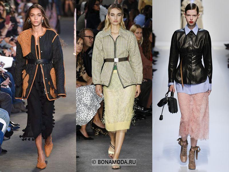 Женская верхняя одежда весна-лето 2018 - Модные куртки с поясом