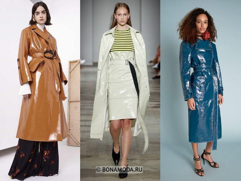 Женская верхняя одежда весна-лето 2018 - пальто-миди из лакированной кожи