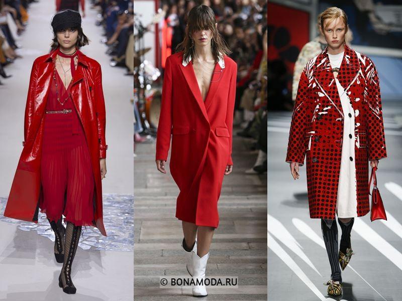 Женская верхняя одежда весна-лето 2018 - яркие красные пальто
