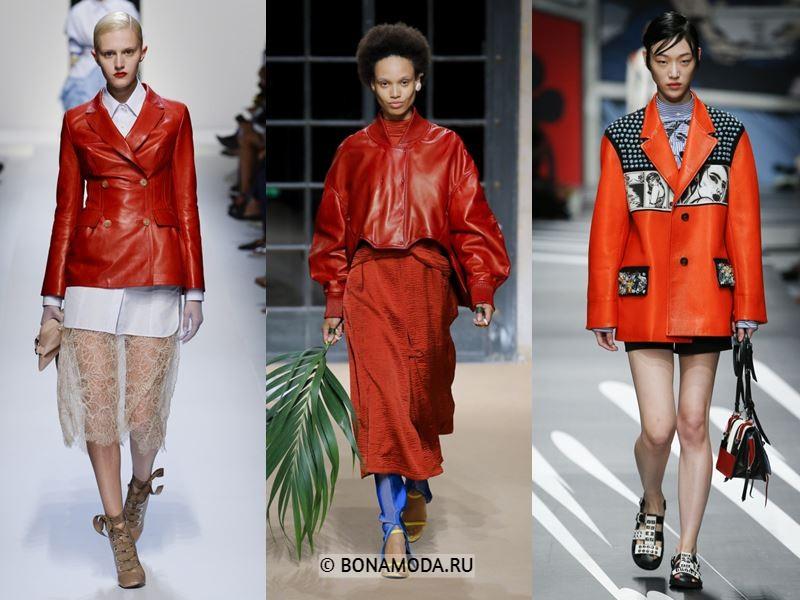 Женская верхняя одежда весна-лето 2018 - Красные кожаные весенние куртки