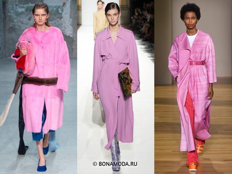 Женская верхняя одежда весна-лето 2018 - Длинные ярко-розовые пальто