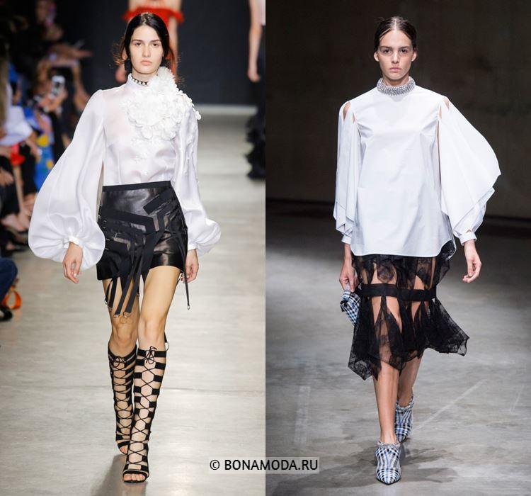 Женские блузки весна-лето 2018 - Белые блузки с пышными длинными рукавами