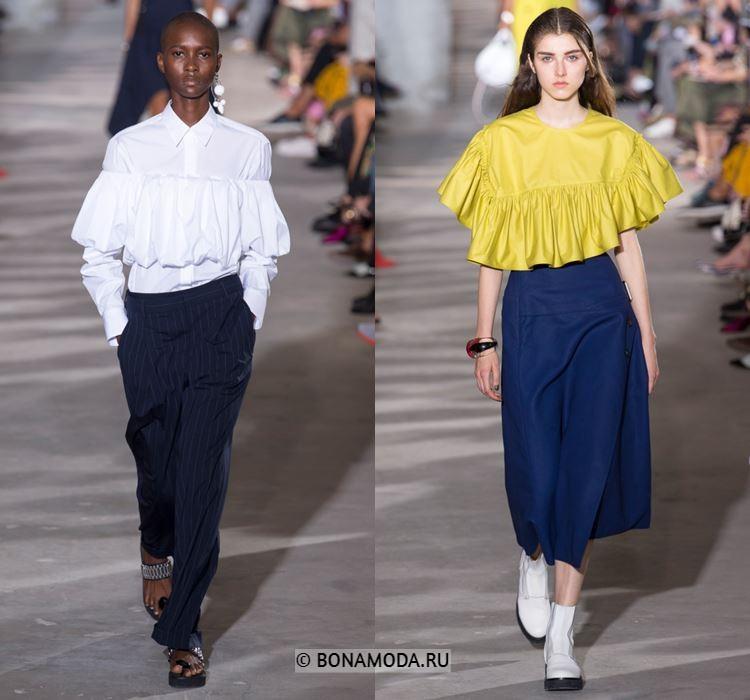 Женские блузки весна-лето 2018 - Белая и жёлтая блузки с воланами