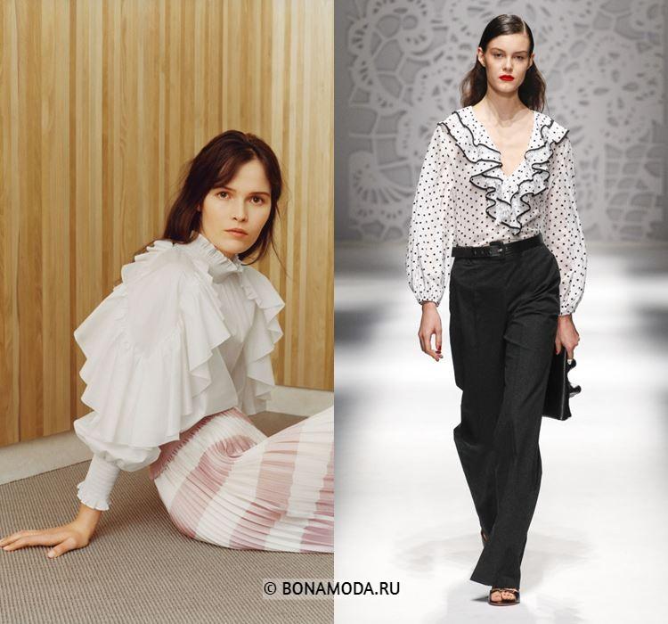 Женские блузки весна-лето 2018 - Белые шифоновые блузки с крупными воланами