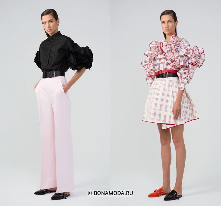 Женские блузки весна-лето 2018 - Нарядные блузки с крупными пышными воланами на рукавах