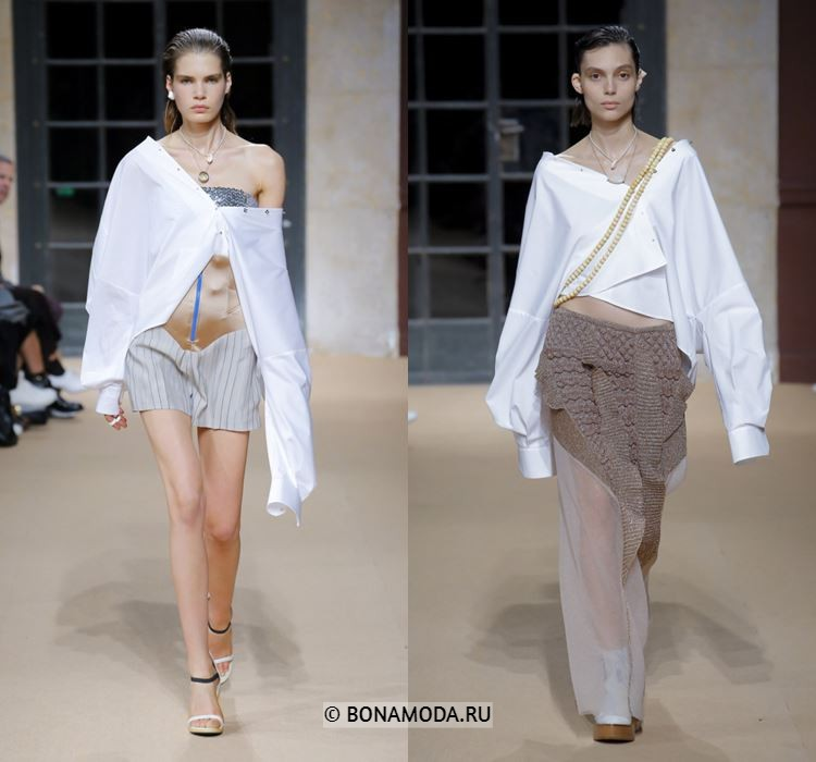 Женские блузки весна-лето 2018 - Асимметричные белые блузки