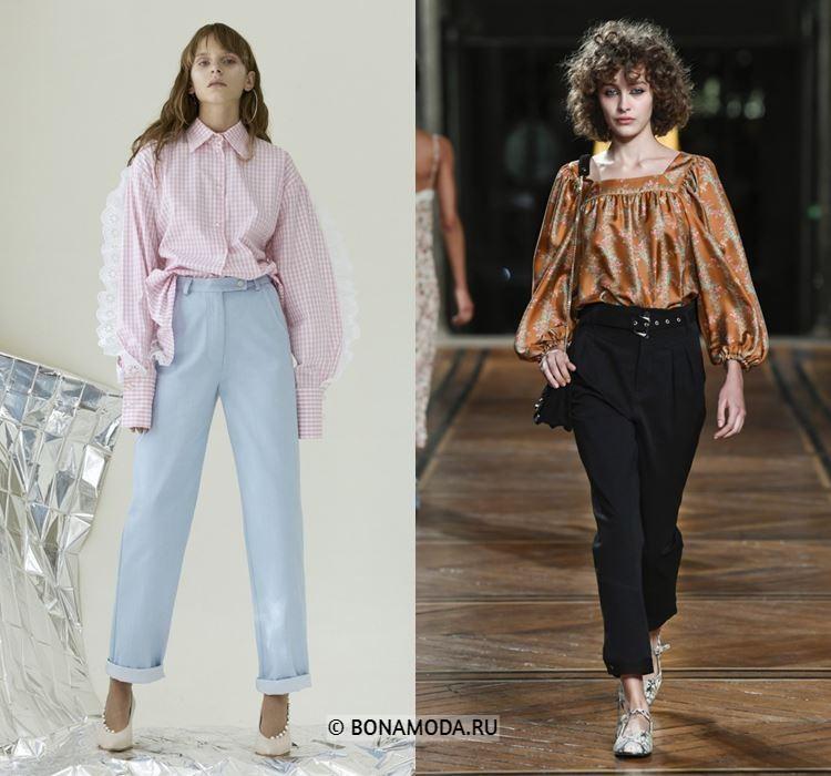 Женские блузки весна-лето 2018 - летние блузки с длинными объёмными рукавами
