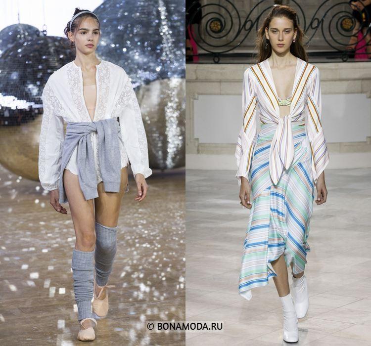 Женские блузки весна-лето 2018 - Блузки с глубоким V-образным горловым вырезом
