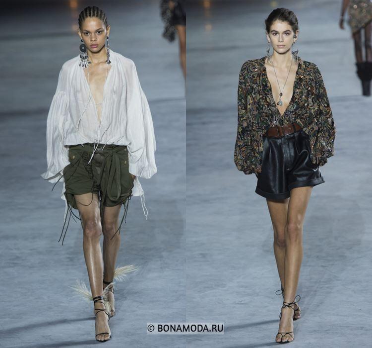 Женские блузки весна-лето 2018 - блузки с глубоким V-образным вырезом в шортами