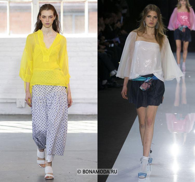 Женские блузки весна-лето 2018 - Жёлтая и белая шифоновые блузки