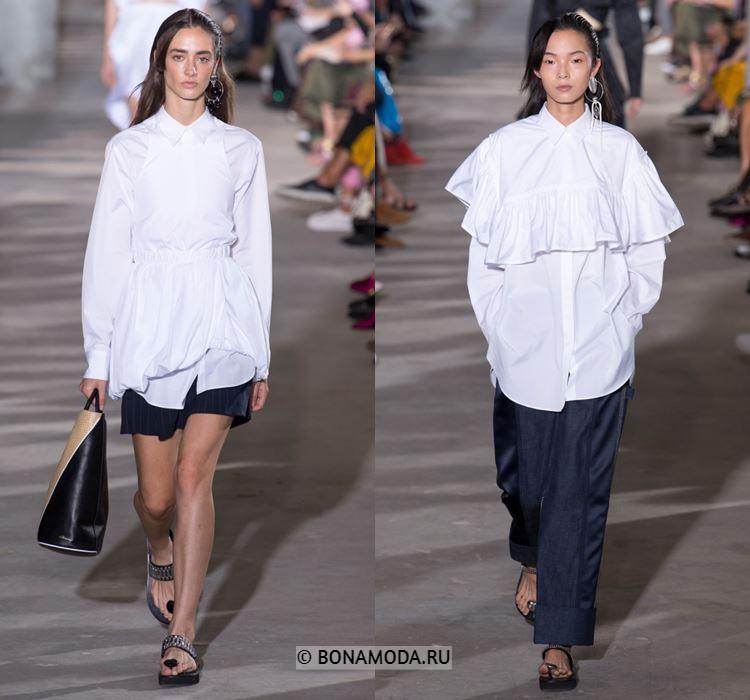 Женские блузки весна-лето 2018 - Длинные белые блузки