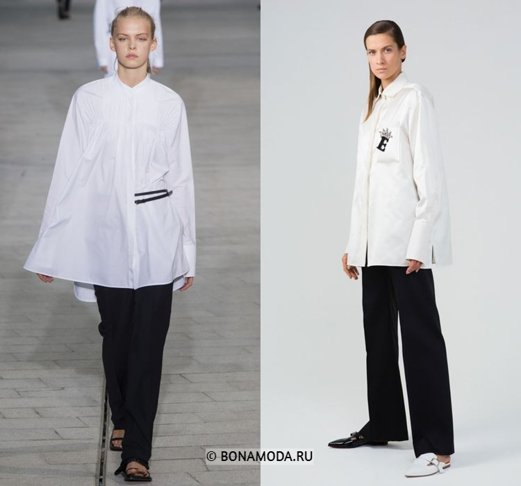 Женские блузки весна-лето 2018 - Белые рубашки с чёрными брюками
