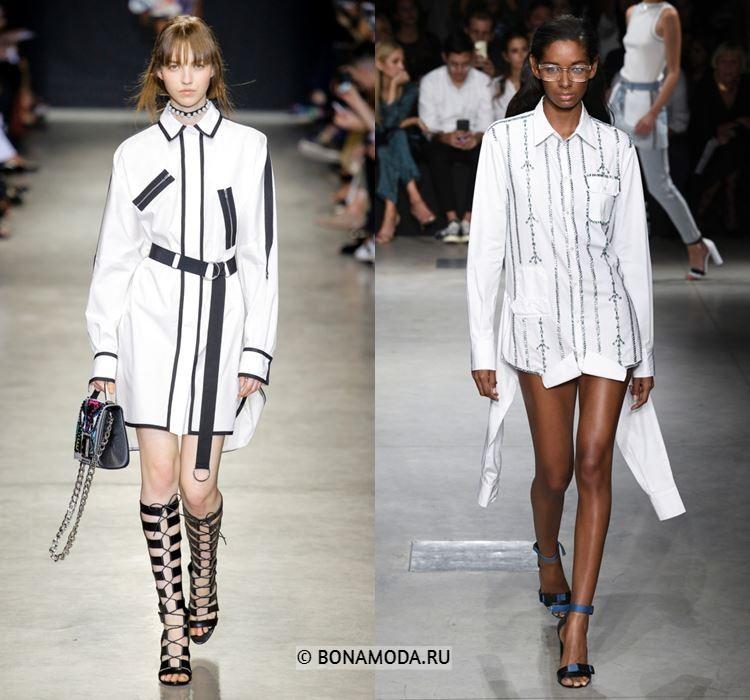 Женские блузки весна-лето 2018 - Длинные белые блузки-рубашки с полосками