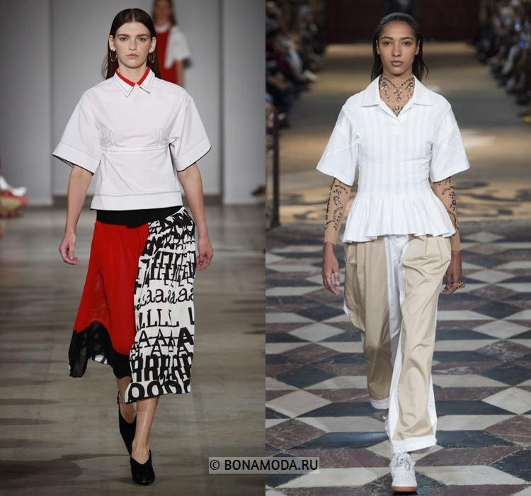 Женские блузки весна-лето 2018 - белые блузки с короткими рукавами и баской