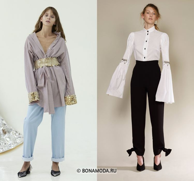 Женские блузки весна-лето 2018 - Блузки с длинными рукавами