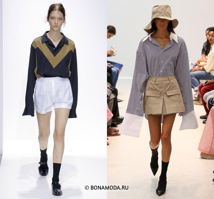 Женские блузки весна-лето 2018 - Блузки с длинными рукавами в сочетании с шортами