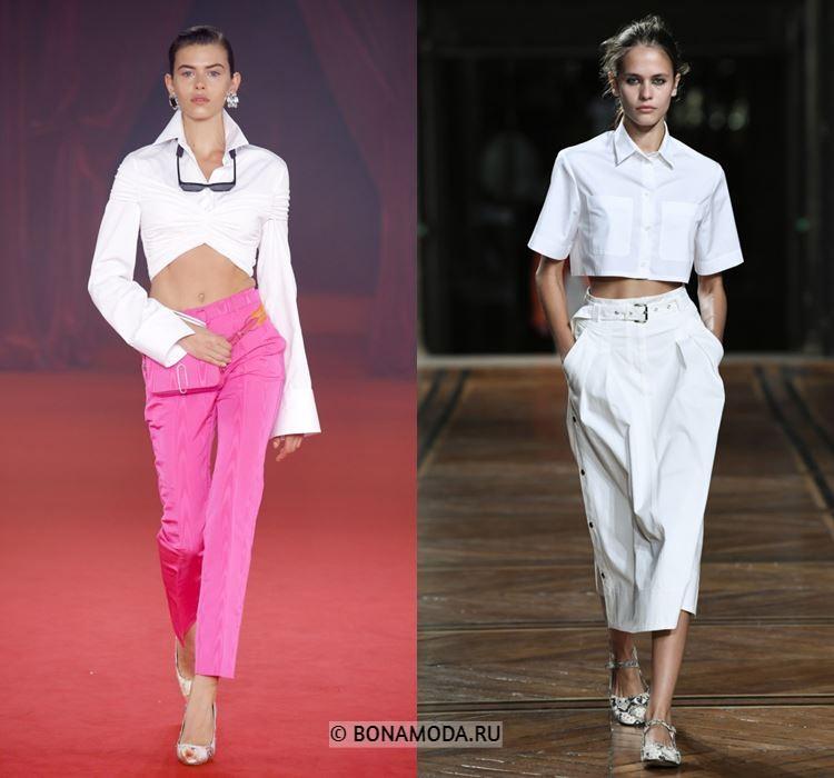 Женские блузки весна-лето 2018 - Короткие белые кроп-блузки:
