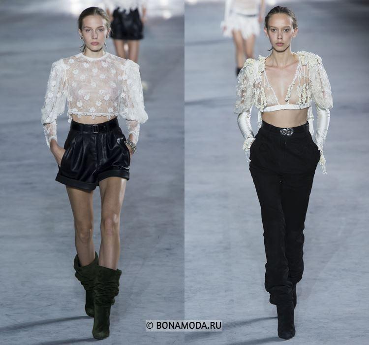 Женские блузки весна-лето 2018 - Короткие прозрачные блузки с чёрными шортами и брюками