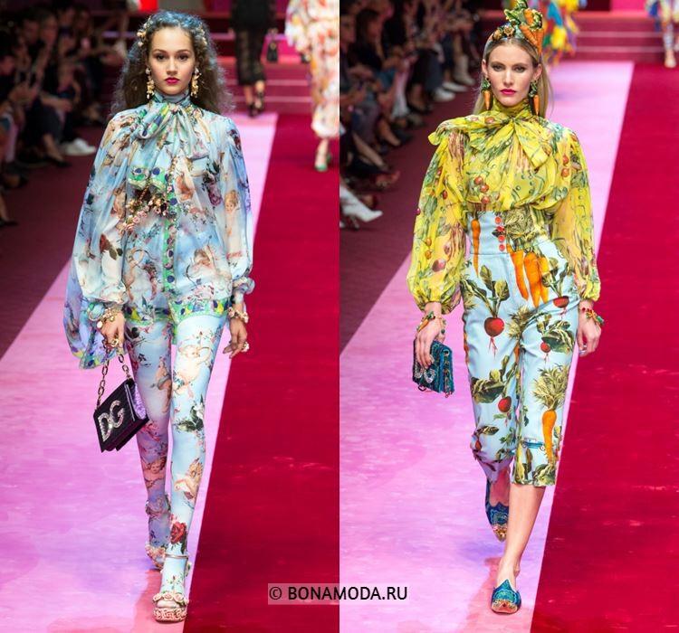 Женские блузки весна-лето 2018 - Голубая и жёлтая блузки с принтом и бантом