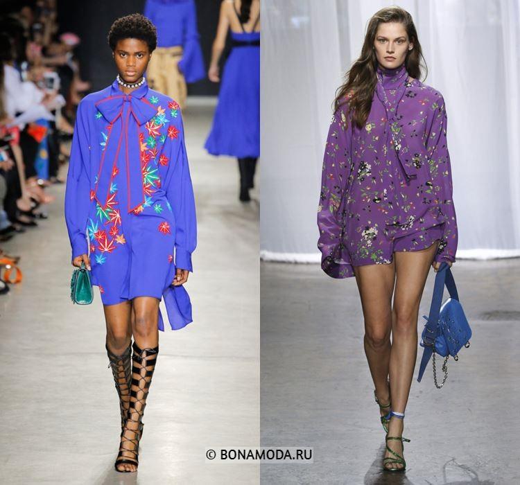 Женские блузки весна-лето 2018 - Синяя и фиолетовая длинные блузки с бантом и галстуком