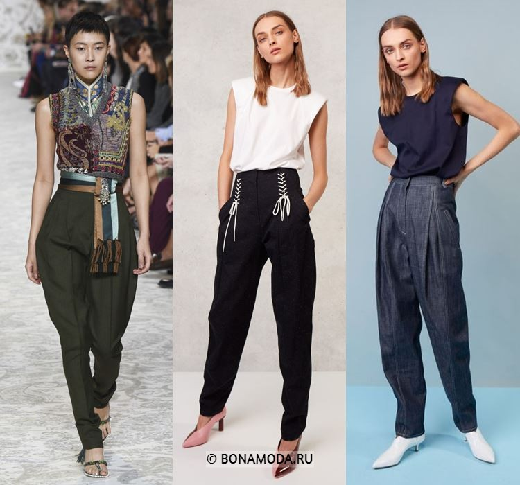 Женские брюки весна-лето 2018 - Зауженные брюки-шаровары в восточном стиле