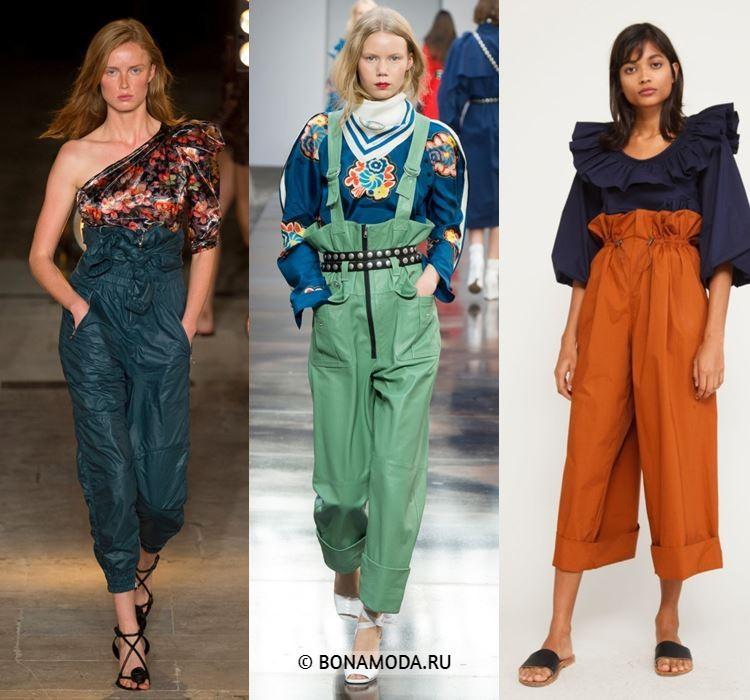 Женские брюки весна-лето 2018 - Укороченные брюки с завышенной талией