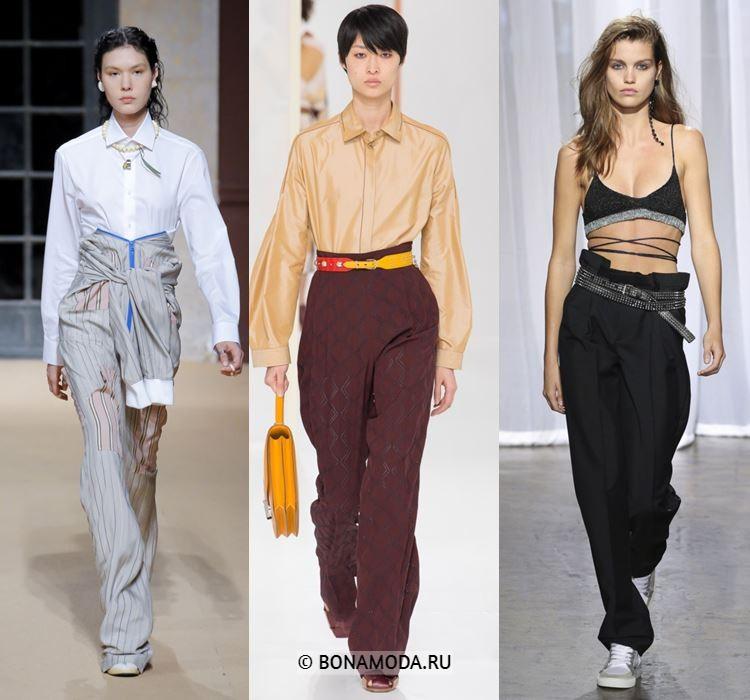 Женские брюки весна-лето 2018 - Длинные брюки с завышенной талией