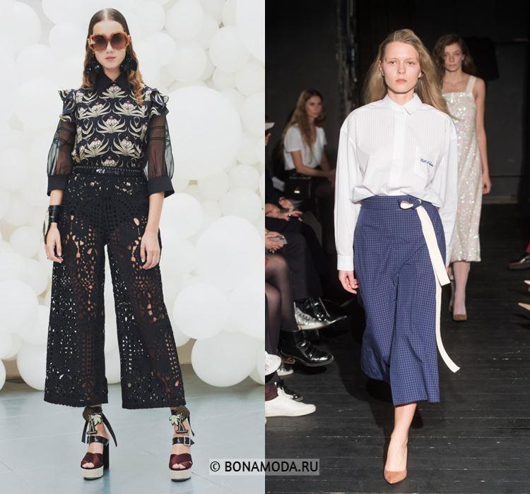 Женские брюки весна-лето 2018 - Укороченные брюки-кюлоты