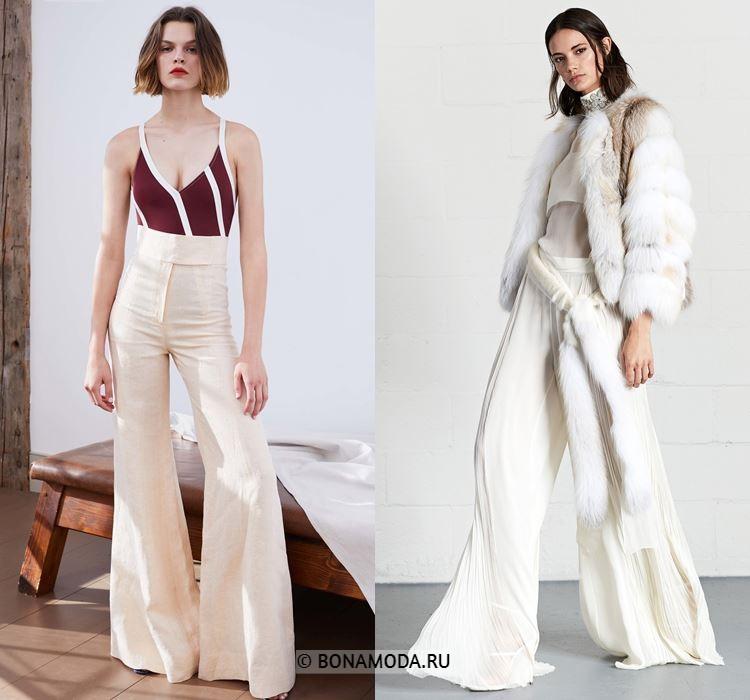Женские брюки весна-лето 2018 - Белые расклешённые брюки