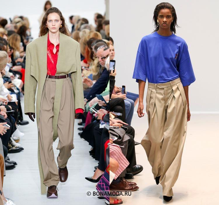 Женские брюки весна-лето 2018 - Широкие мешковатые бежевые брюки