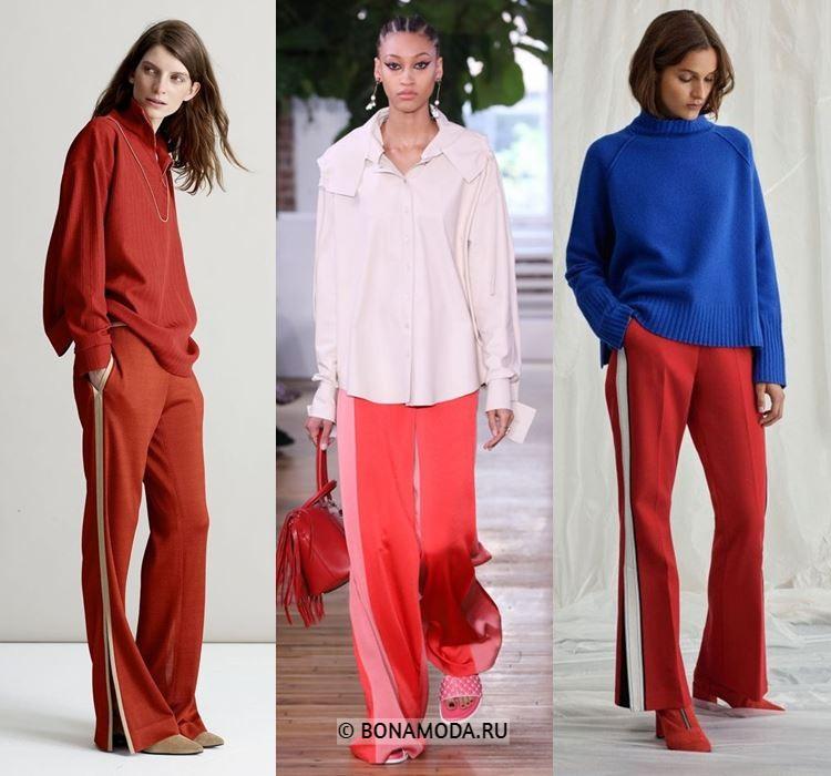 Женские брюки весна-лето 2018 - Красные спортивные брюки