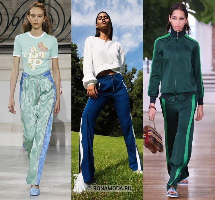 Женские брюки весна-лето 2018 - Синие и зелёные спортивные брюки с лампасами